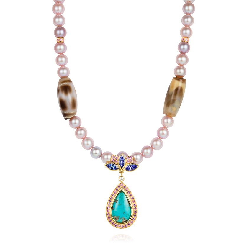 Blue-Lotus-necklace-set-with-Tibetan-dzi-beads-tanzanite-pink-sapphires-antique-Tibetan-turquoise-and-fancy-pearls-in-18k-gold