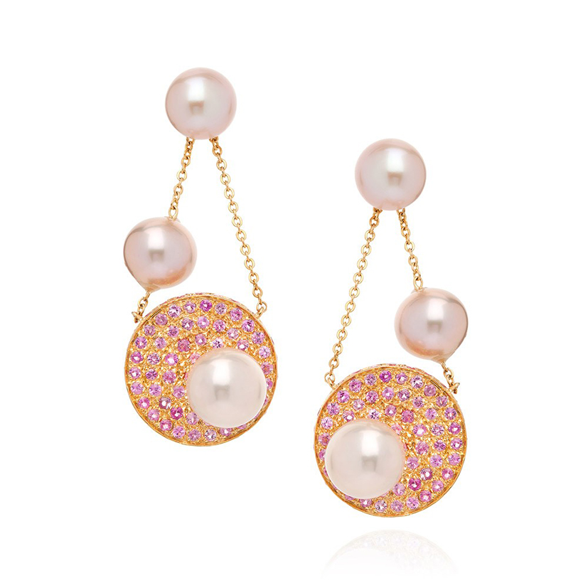 Disc-earrings-pink-sapphires-fancy-pearls-18k-gold