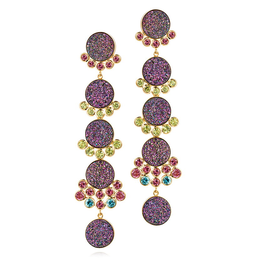 Donna-earrings-set-with-treated-Druzy-pink-tourmalines-peridots-and-blue-zircons-in-18k-gold