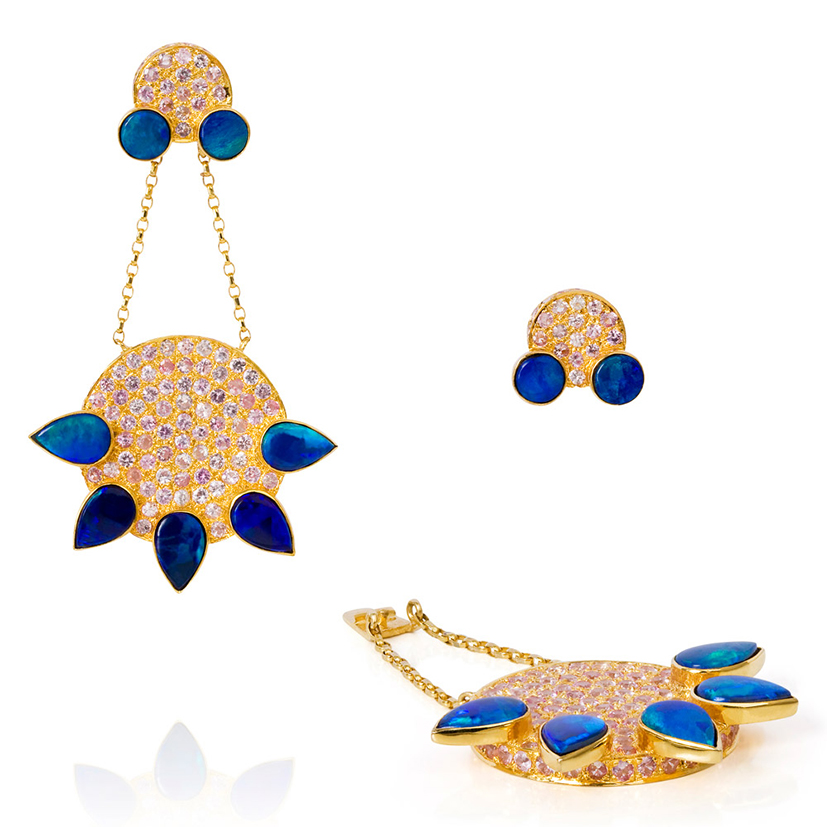 Eastern-Star-earrings-opal-pink-sapphires-18k-gold