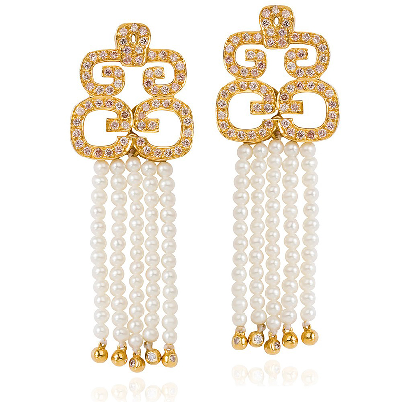 Hidden-Dragon-earings-pink-diamonds-baby-pearls-18k-gold