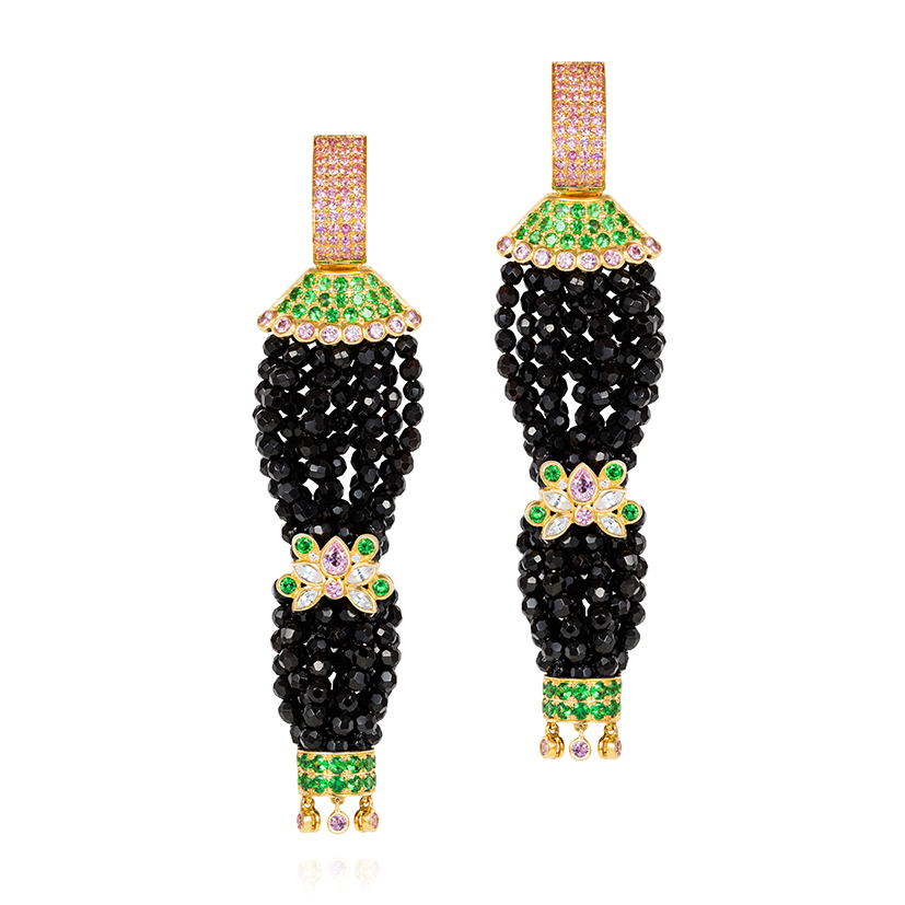 Pagoda-earrings-set-with-pink-sapphires-tsavorite-garnets-white-sapphires-diamonds-on-faceted-onyx-beads-in-18k-gold