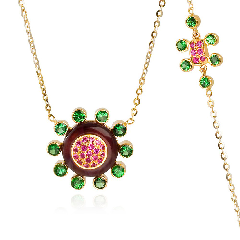 Princess-of-the-Woods-necklace-tsavorite-garnet-hot-pink-sapphires-amethyst-18k-gold