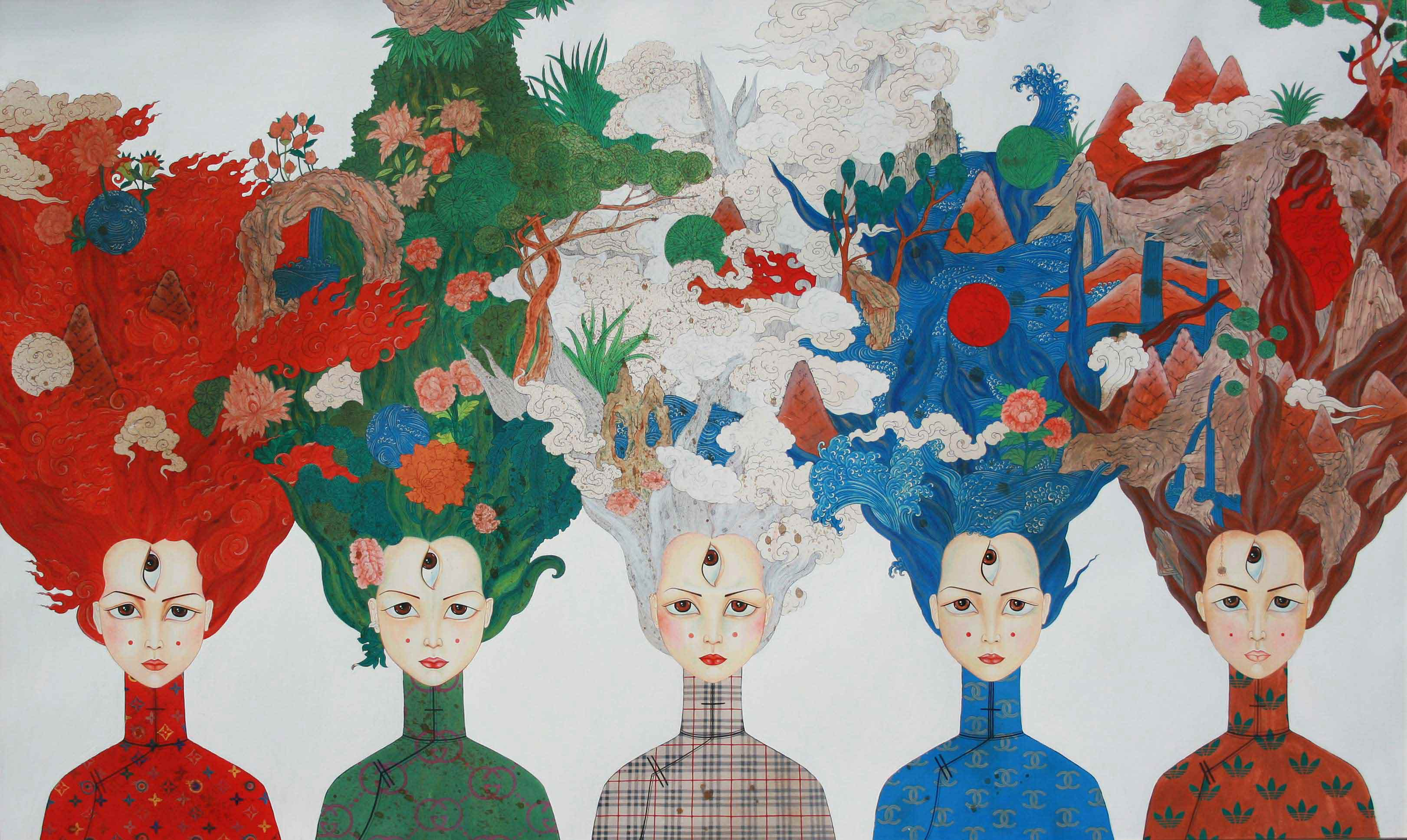 """From us"" 2013 -  gouache, acrylic, cotton (85x137 cm) 